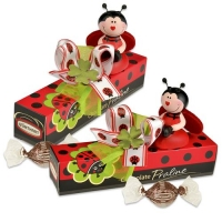 12 pcs Porcelain beetle on box, filled with pralines