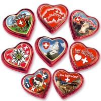 40 pcs Large praline hearts, red  switzerland