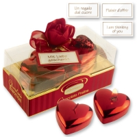 6 pcs Medium heart candles on box with pralines