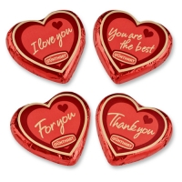 40 pcs Large praline hearts, red
