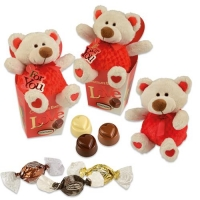 12 pcs Plush bear Love in box, large