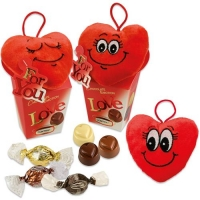 12 pcs Plush heart Love on Box, assorted