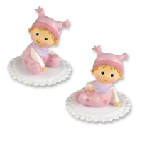 2 pcs Assorted plastic baby, pink