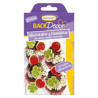 15 pcs Ladybirds and leaves, white chocolate