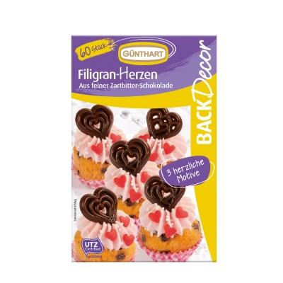 12 pcs Chocolate filigree hearts