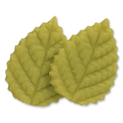 100 pcs Large marzipan rose leaves, green