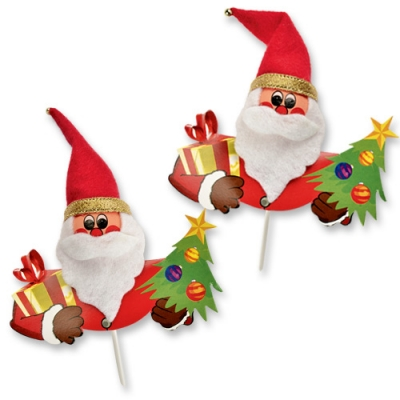 60 pcs Chenille Santa on stick, with red and gold trees