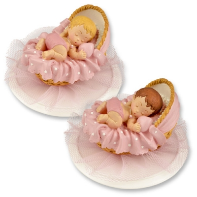 2 pcs Polyresin-top, baby in basket, pink