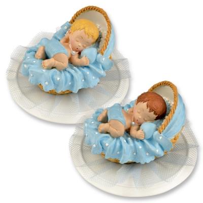 2 pcs Polyresin-top, baby in basket, blue