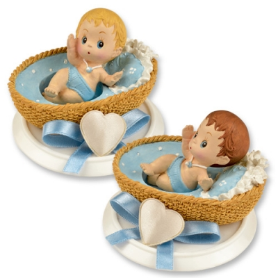 4 pcs Small polyresin-top, baby in basket, blue