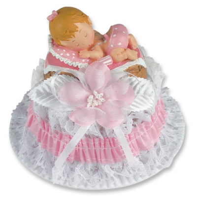 2 pcs Christening set with baby in basket, blue